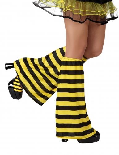 Beinstulpen Bienen-Kostümzubehör schwarz-gelb