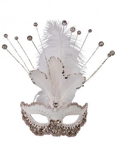 Venezianische Maske mit Verzierung und Federn weiss für Damen