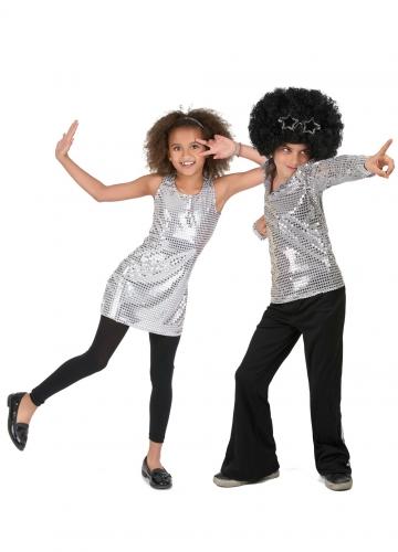 70er-Jahre Paarkostüm für Kinder schwarz-silber