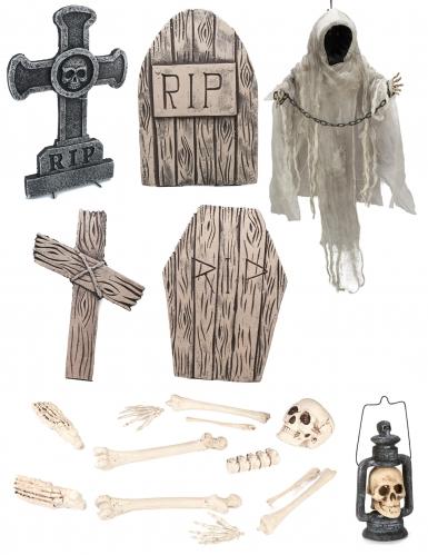 Friedhof Grabstein-Set mit Skelett grau-beige-schwarz