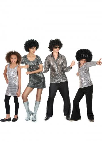 Familien Discokostüm Silber
