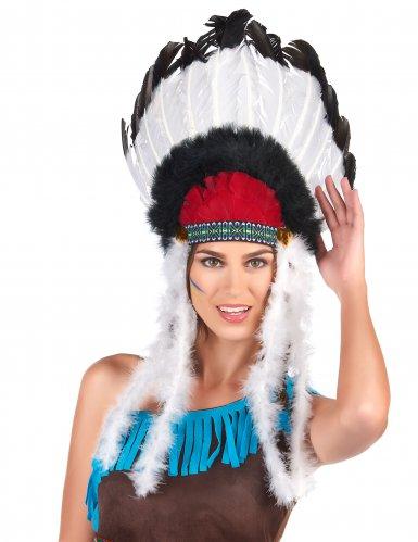 Indianer Häuptlings-Kopfbedeckung mit Federn für Erwachsene-1