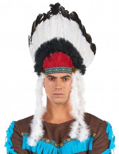 Indianer Häuptlings-Kopfbedeckung mit Federn für Erwachsene-2