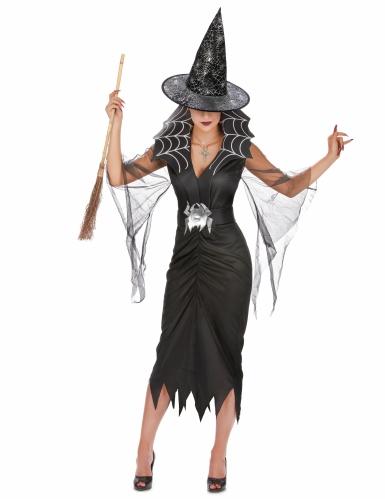 Hexen Kostümset für Damen mit Kostüm, Hut und Besen-1