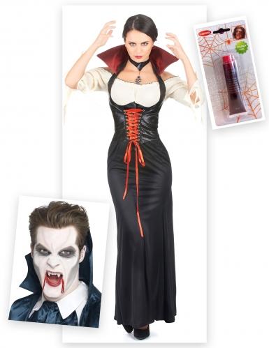 Vampir-Set für Damen 3-teilig rot-schwarz