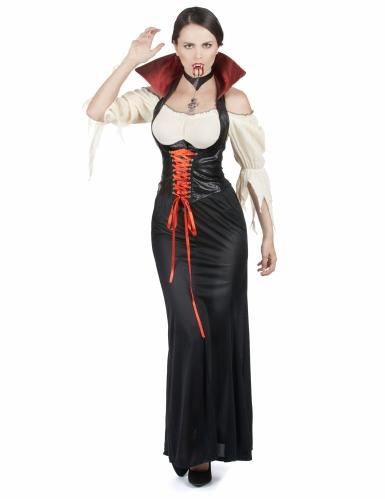 Vampir-Set für Damen 3-teilig rot-schwarz-1