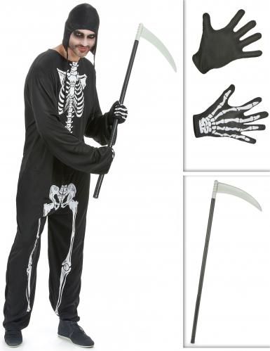 Skelett Kostüm-Set für Herren schwarz-weiß