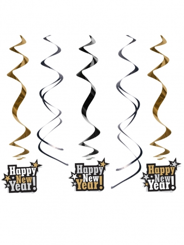 Deko-Spiralen Happy New Year schwarz-gold