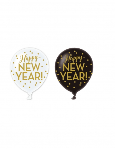 6 Happy New Year Ballons schwarz-weiß-gold 30cm