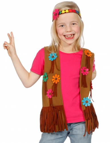Hippie Kostüm-Set für Kinder braun-bunt