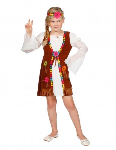 Hippiedame Kinder-Kostüm braun-bunt