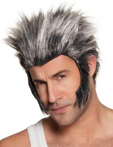 Werwolf-Perücke mit Koteletten für Herren Halloween grau-schwarz