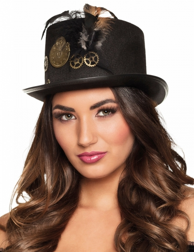 Steampunk-Kopfbedeckung Kostümzubehör Damen schwarz