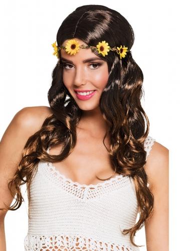 Verführerische Hippie-Perücke mit Blumenband braun-bunt