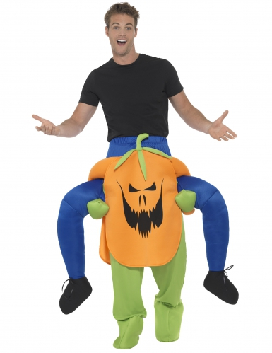 Mann auf Rücken von Kürbis Halloweenkostüm