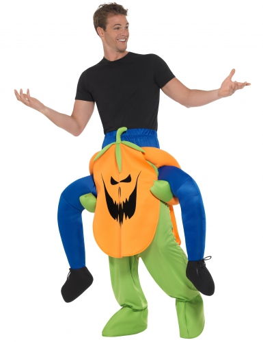 Mann auf Rücken von Kürbis Halloweenkostüm-1