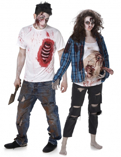 2 Paar T-Shirts Zombie - Trash Halloween