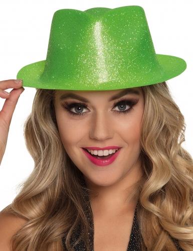 Neongrüner Glitzer-Hut für Erwachsene-1