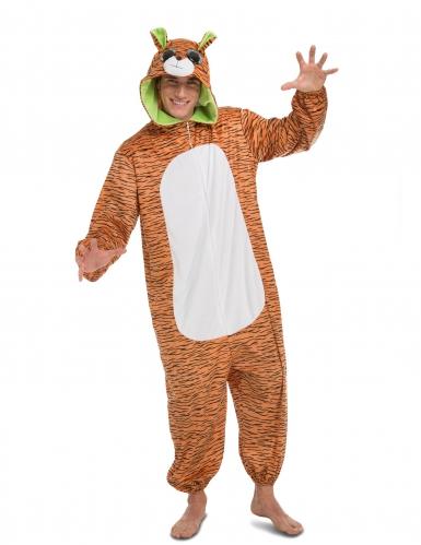 Tiger-Kostüm Overall für Erwachsene M / L
