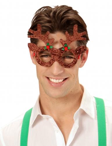 Rentier-Brille mit Pailletten für Weihnachten