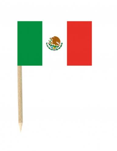 50 Mini-Spicker Flaggen Mexiko 3 x 5 cm
