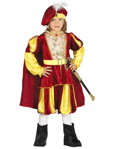 Pompöses Prinz Kostüm für Jungen rot-gold