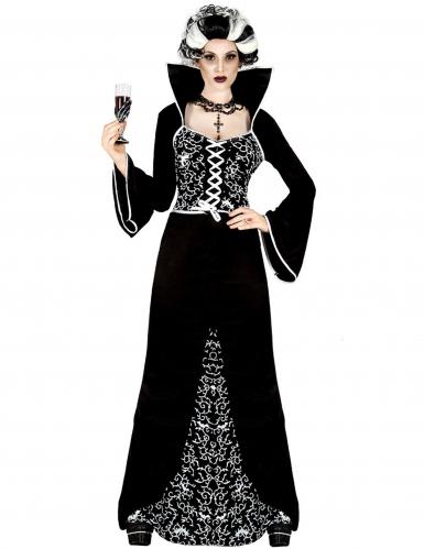 Düstere Baronin Halloween Damenkostüm schwarz-weiss