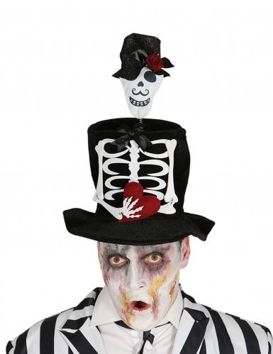 Skelett-Hut Tag der Toten Kostümzubehör für Halloween schwarz-weiss-rot