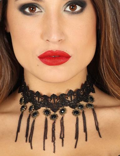 Gothic-Collier für Damen Kostümaccessoire schwarz