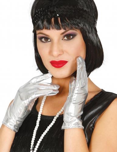 Handschuhe 20er-Jahre Metallic-Look für Damen silber