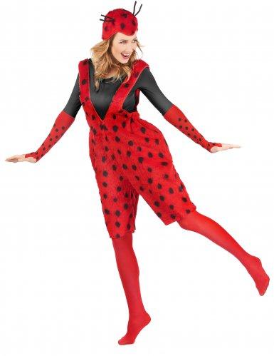 Marienkäfer-Kostüm für Damen Latzhose Plüsch