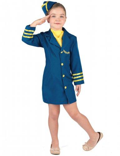 Blaues Stewardess Kostüm für Mädchen