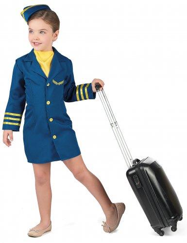 Blaues Stewardess Kostüm für Mädchen-1