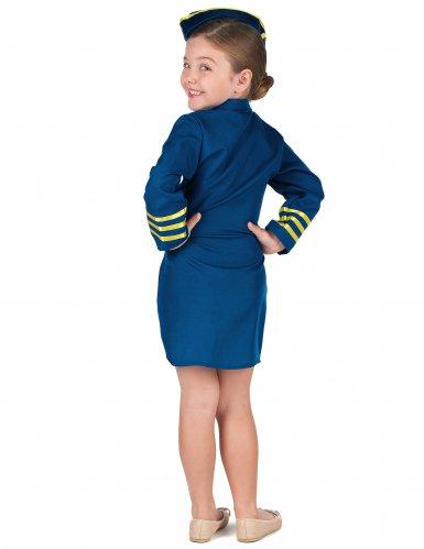 Blaues Stewardess Kostüm für Mädchen-2