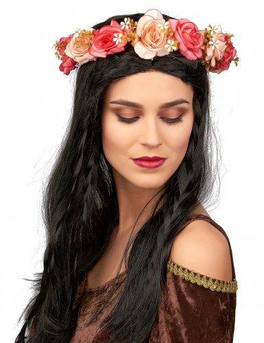 Hippie-Blumenkranz für Erwachsene Kostümaccessoire bunt