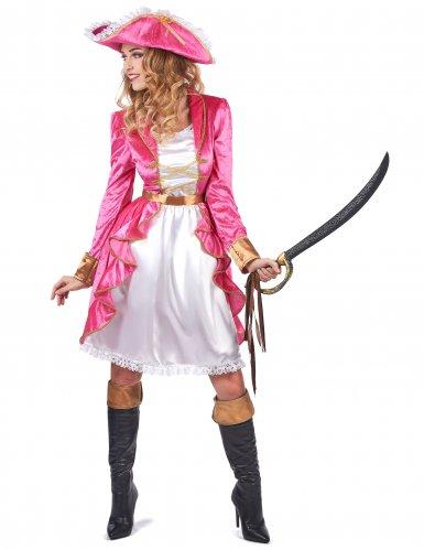 Piratinnenkostüm für Damen in rosa Barockstil