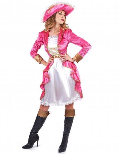 Piratinnenkostüm für Damen in rosa Barockstil-1