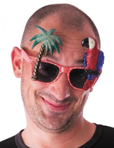 Exotische Sonnenbrille Hawaii Kostümzubehör Flamingo bunt-1