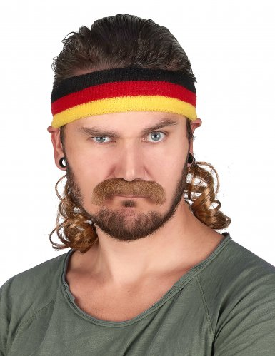 Vokuhila Stirnband in Deutschlandfarben mit Schnurrbart