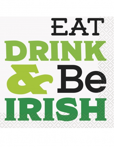 Saint Patrick's Day Servietten Eat Drink & Be Irish 16 Stück grün-weiss