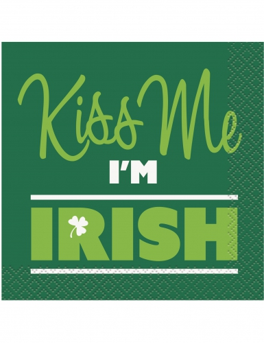 saint patrick 39 s day servietten kiss me i 39 m irish 16 st ck gr n weiss partydeko und g nstige. Black Bedroom Furniture Sets. Home Design Ideas