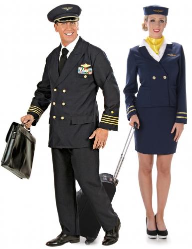 Paarkostüm Pilot und Stewardess für Erwachsene