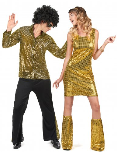 70er-Jahre Disco Paarkostüm für Erwachsene gold