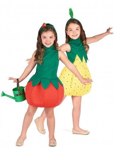 Ananas und Erdbeere Paarkostüm für Kinder rot-gelb