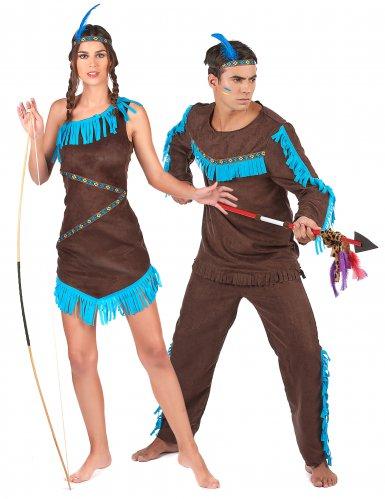 Indianer Paarkostüm für Erwachsene türkis-braun