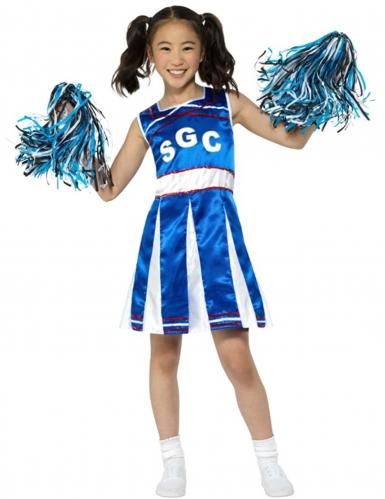Cheerleader Mädchen-Kostüm blau-weiss-rot