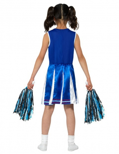 Cheerleader Mädchen-Kostüm blau-weiss-rot-1