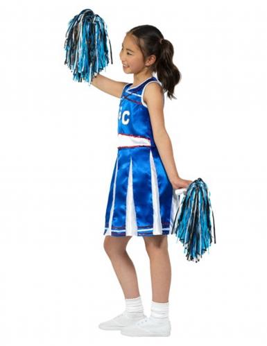 Cheerleader Mädchen-Kostüm blau-weiss-rot-2