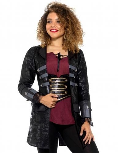 Piraten-Mantel Kostümzubehör schwarz-grau-2