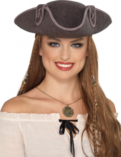 Dreispitz-Piratenhut für Damen Kostümzubehör braun
